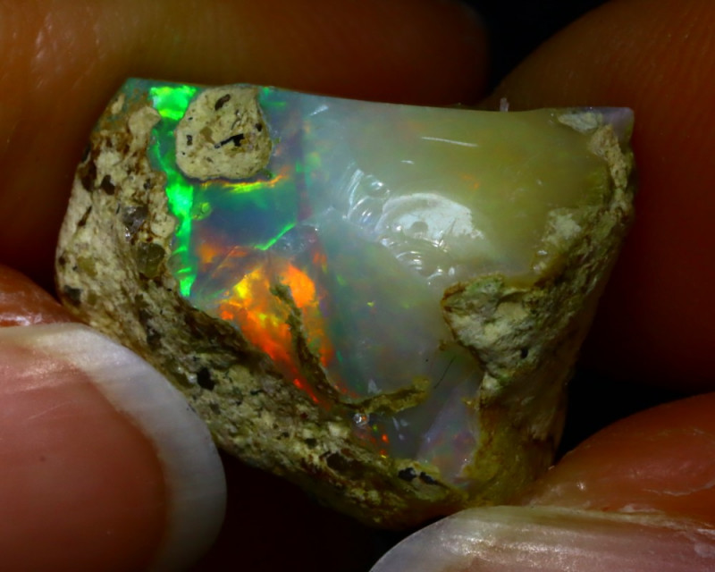 18.44Ct Multi Color Play Ethiopian Welo Opal Rough JR26/R3