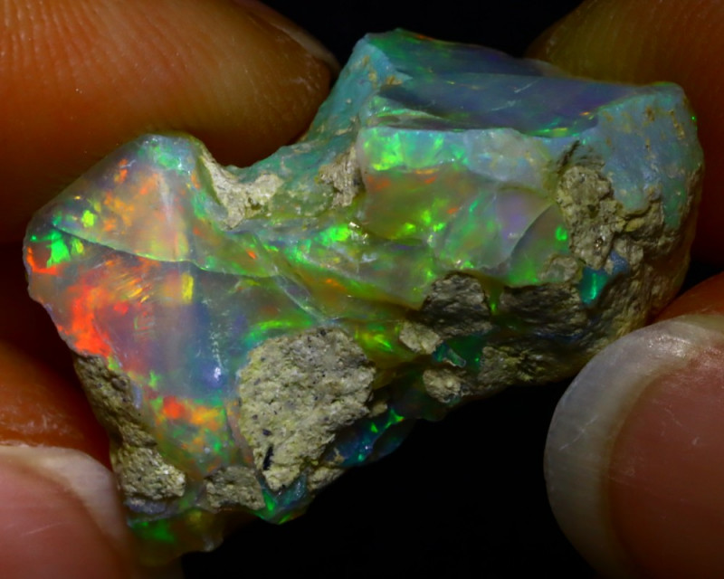 22.94Ct Multi Color Play Ethiopian Welo Opal Rough JR30/R3