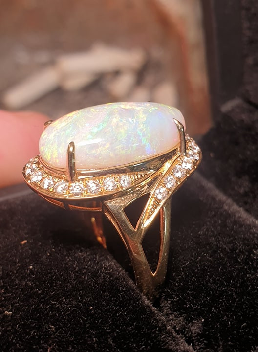 Australian Opal Gem Lightning Ridge 18k Gold Custom Ring Diamonds x28