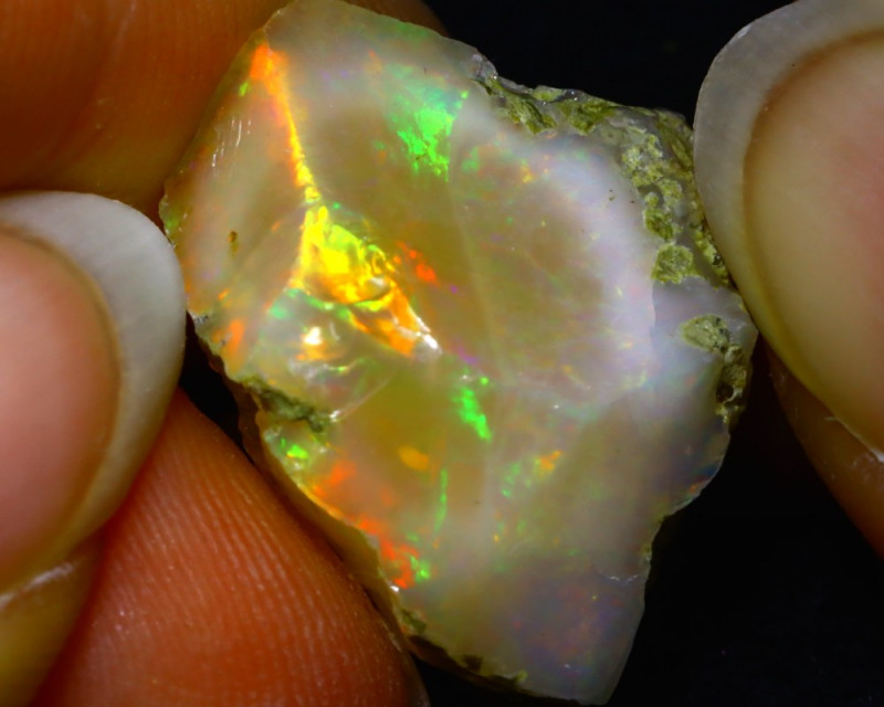 26.06Ct Multi Color Play Ethiopian Welo Opal Rough JR33/R3