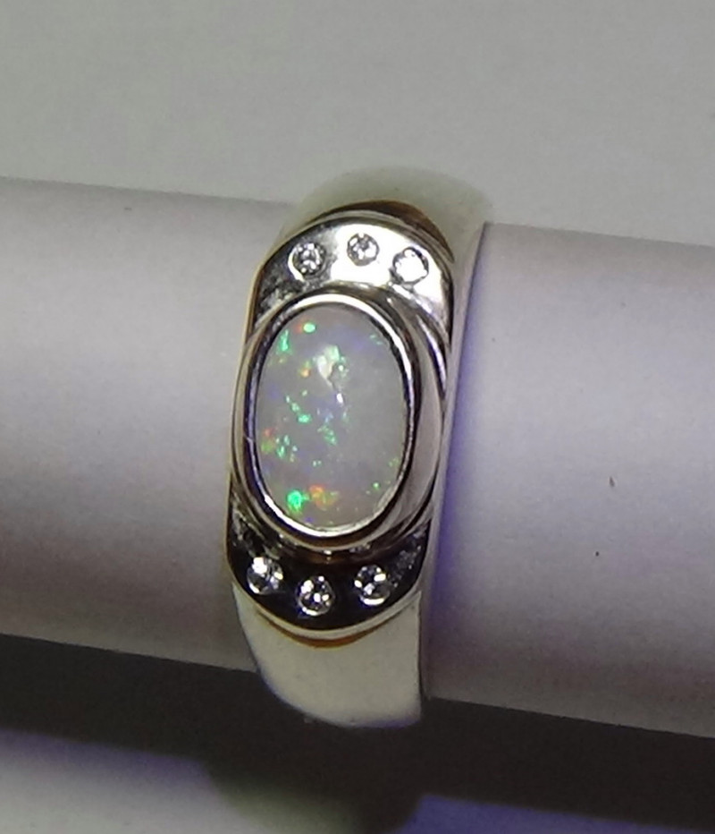 Opal Sz 7 Australian Cobber Pedy Crystal Sterling Silver Ring With cz's  *