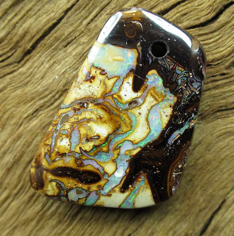 DRILLED GREAT PATTERN YOWAH MATRIX OPAL,18.60.CTS.FROM CO.