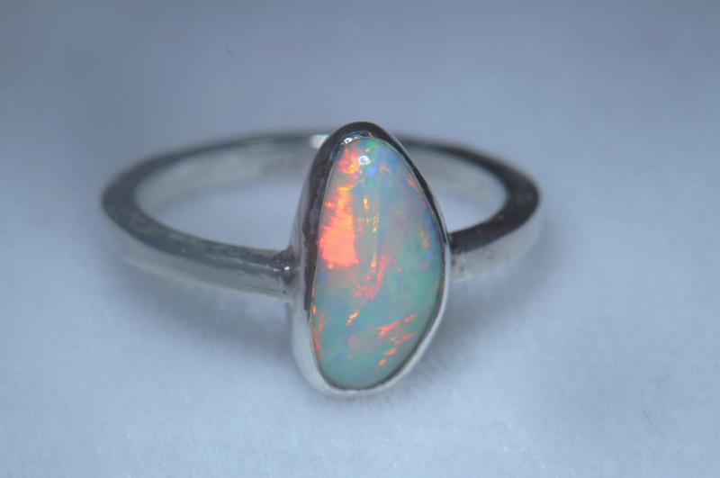 6sz .925 Sterling Ethiopian Welo Silver Ring Opal
