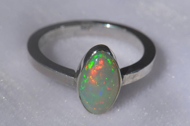 9.5sz .925 Sterling Ethiopian Welo Silver Ring Opal