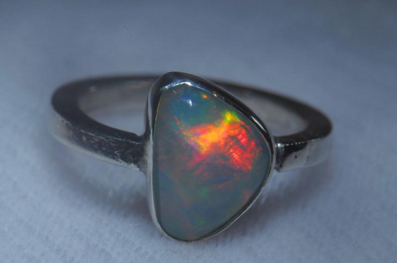 7.5sz .925 Sterling Ethiopian Welo Silver Ring Opal