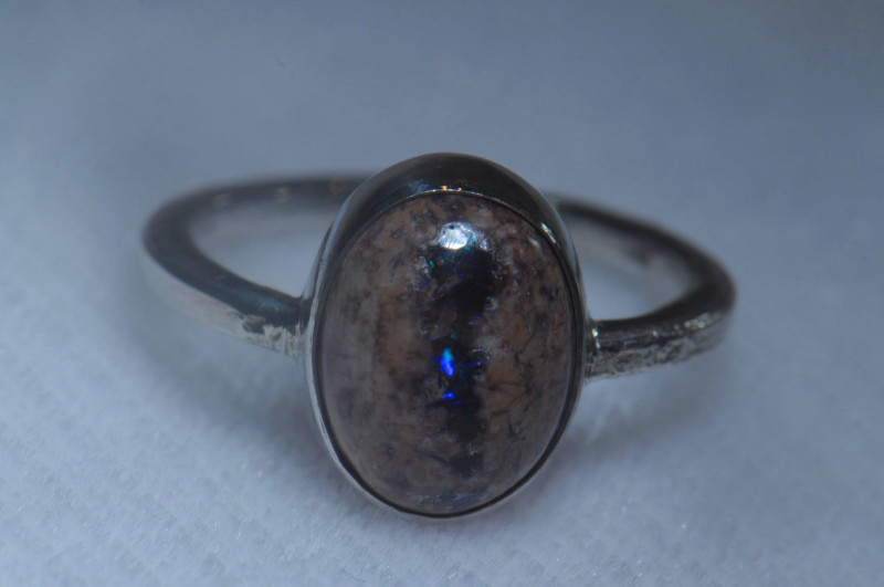 6sz .925 Sterling Mexican Silver Ring Opal