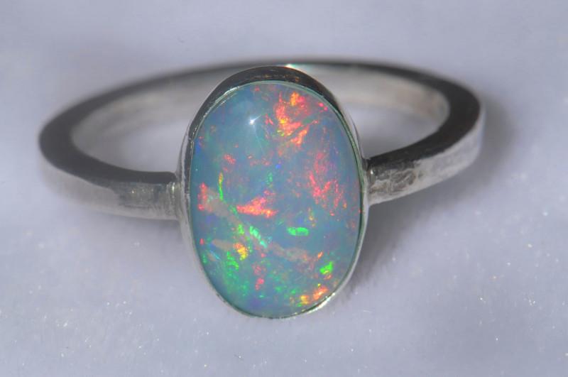 12.5sz .925 Sterling Ethiopian Welo Silver Ring Opal