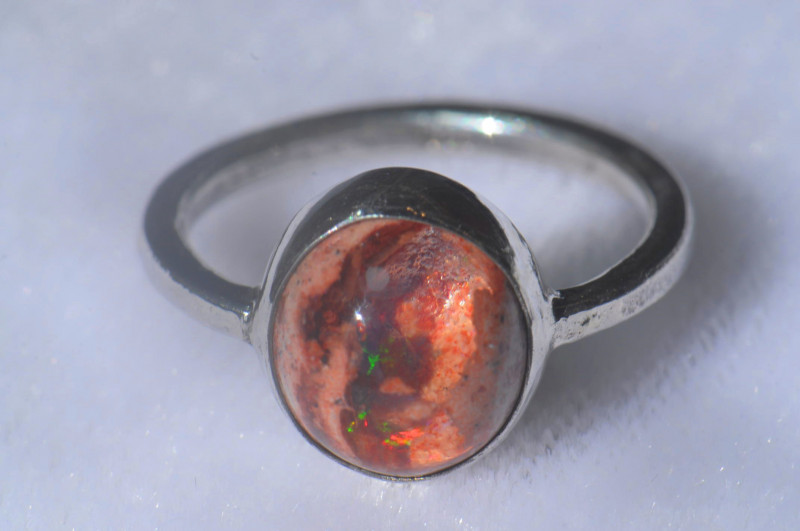 5.5sz .925 Sterling Mexican Silver Ring Opal