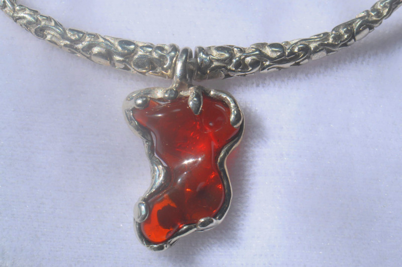 60ct Mexican Taxco Opal .925 Sterling Silver Pendant