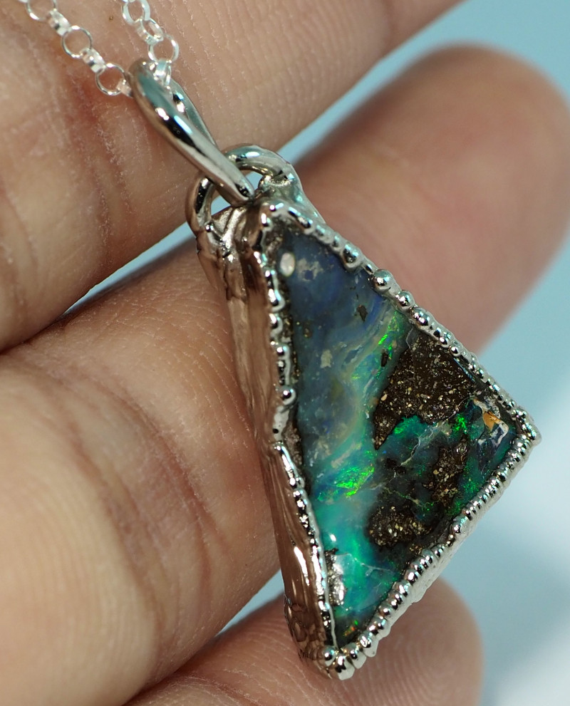 17.95CT OPAL PENDANT WITH SILVER COPPER ELECTRO FORM BJ44