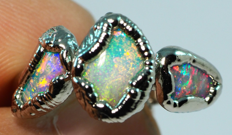 22.65CT LIGHTNING RIDGE OPAL RING WITH SILVER COPPER ELECTRO FORM BJ73