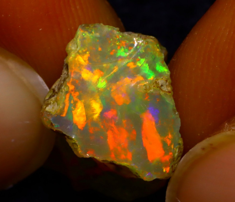 5.37Ct Multi Color Play Ethiopian Welo Opal Rough JN104/R2