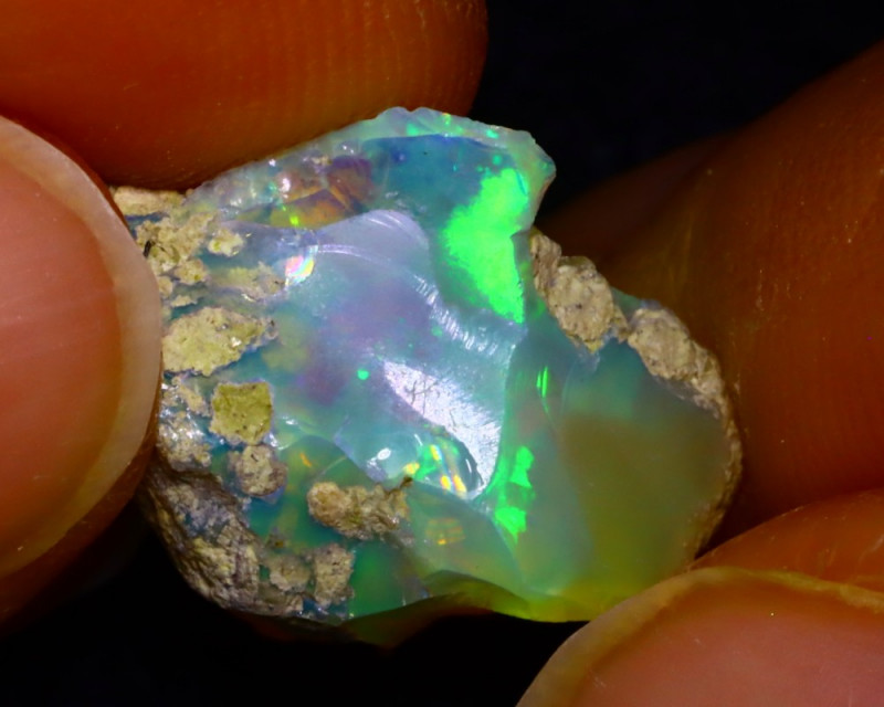 5.55Ct Multi Color Play Ethiopian Welo Opal Rough J1017/R2