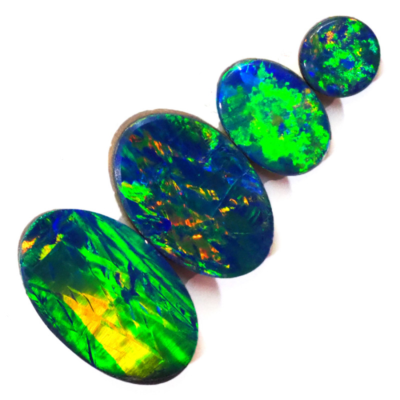 2.82CTS 4 PIECES OPAL DOUBLET PARCEL GREAT COLOUR PLAY --S1364