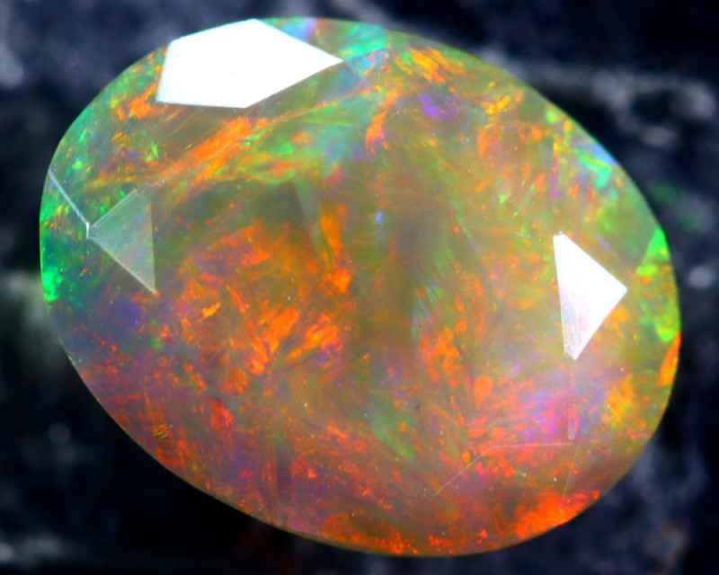 1.37cts Natural Ethiopian Faceted Smoked Black Opal / HM153