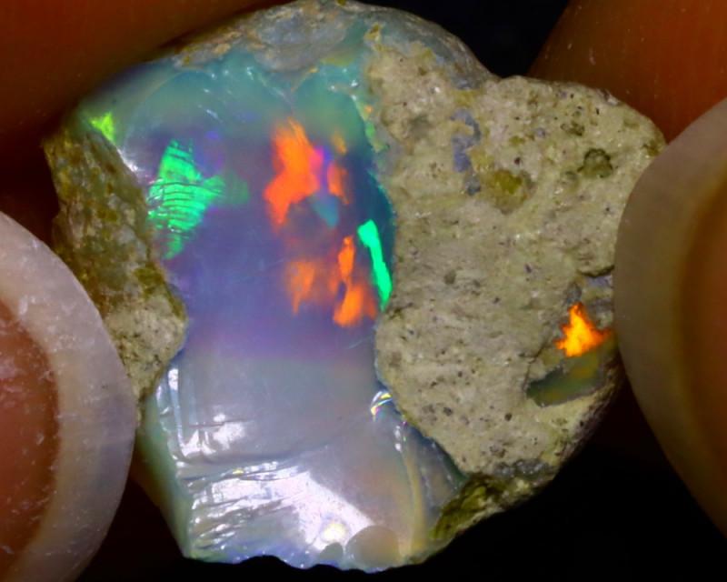 5.78Ct Multi Color Play Ethiopian Welo Opal Rough J2219/R2