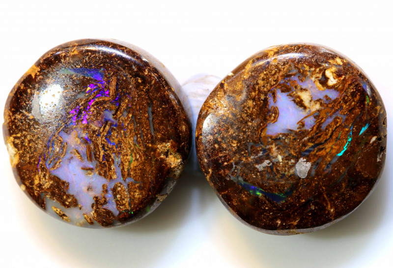 18.35 CTS BOULDER WOOD FOSSIL OPAL STONES (pair)  NC-4691