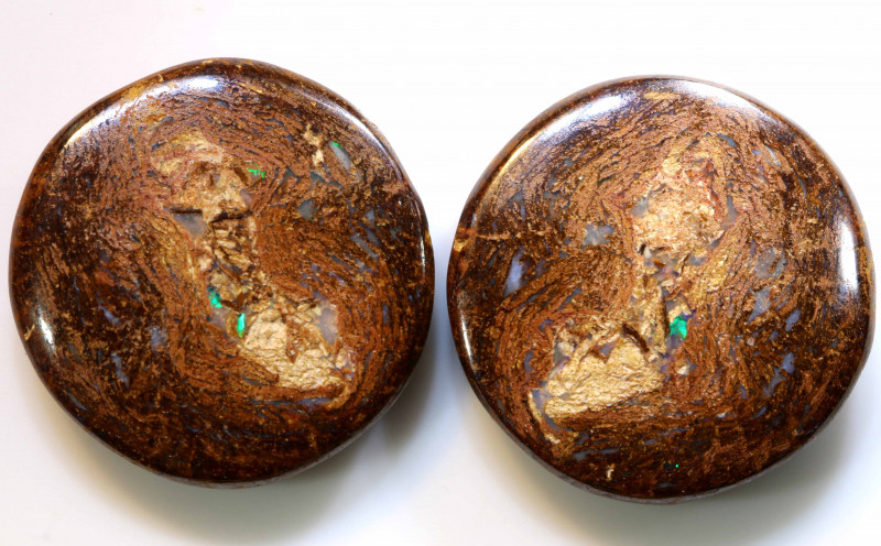 62.20 CTS BOULDER WOOD FOSSIL OPAL STONES (pair)  NC-4693