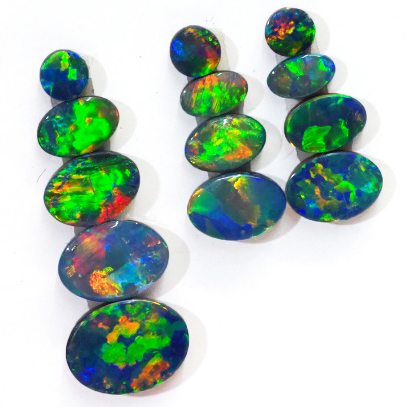 5.45CTS 13 PIECES OPAL DOUBLET PARCEL GREAT COLOUR PLAY --S1472
