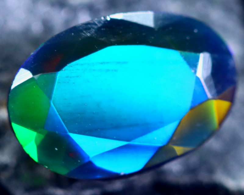 1.23cts Natural Ethiopian Faceted Smoked Opal / HM189