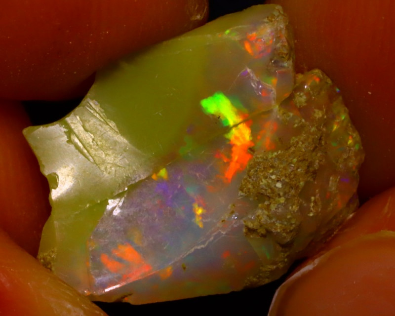 4.83Ct Multi Color Play Ethiopian Welo Opal Rough J2616/R2