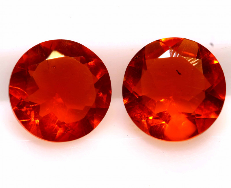 0.97 CTS MEXICAN FIRE OPAL FACETED STONE PAIR  FOB -2174
