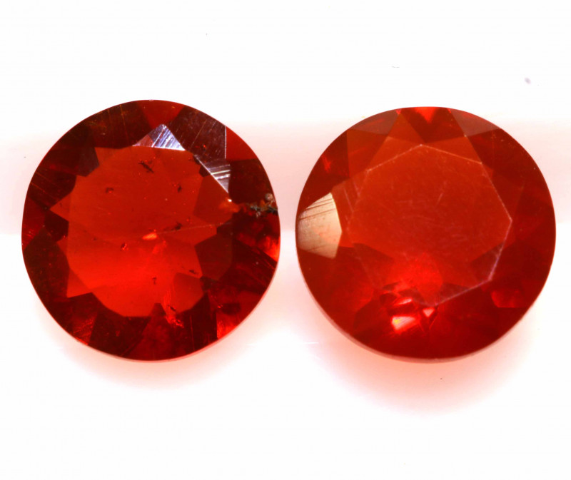 0.99 CTS MEXICAN FIRE OPAL FACETED STONE PAIR  FOB -2176