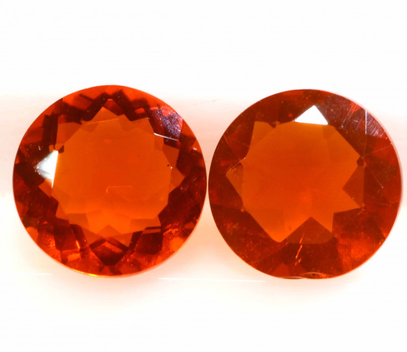0.70 CTS MEXICAN FIRE OPAL FACETED STONE PAIR  FOB -2201