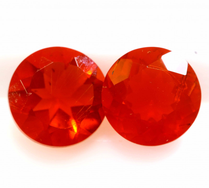 1.13 CTS MEXICAN FIRE OPAL FACETED STONE PAIR  FOB -2214