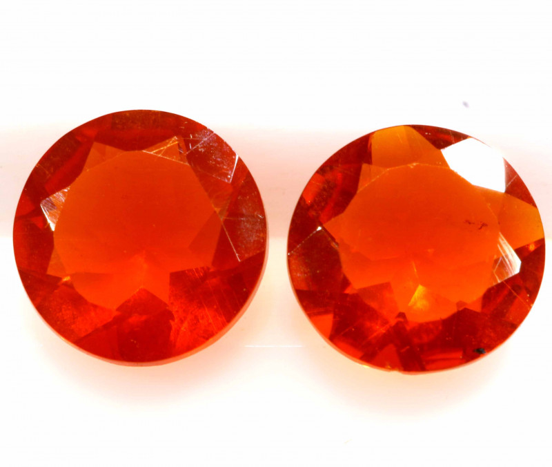 0.89 CTS MEXICAN FIRE OPAL FACETED STONE PAIR  FOB -2219