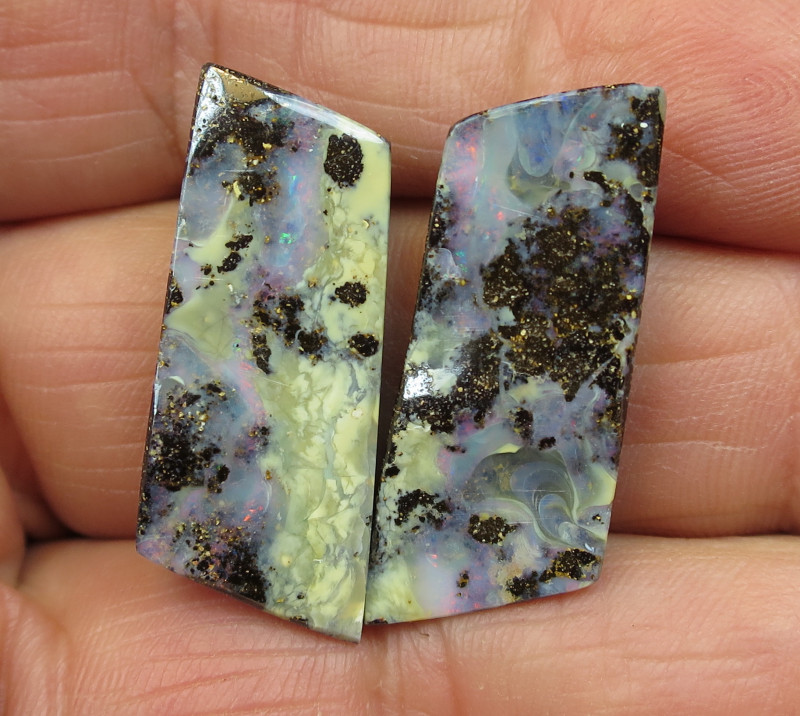 49cts, BOULDER OPAL~LOVELY PAIR.