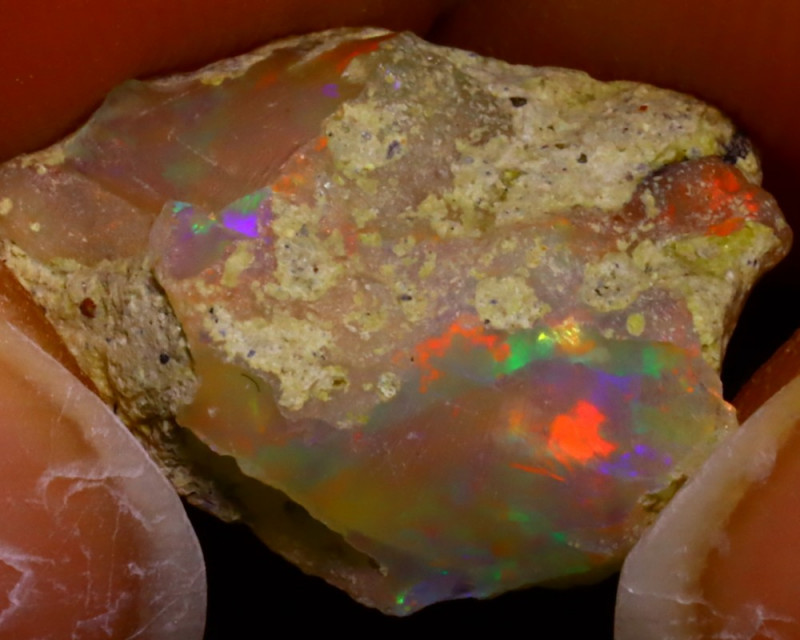 6.43Ct Multi Color Play Ethiopian Welo Opal Rough J0517/R2