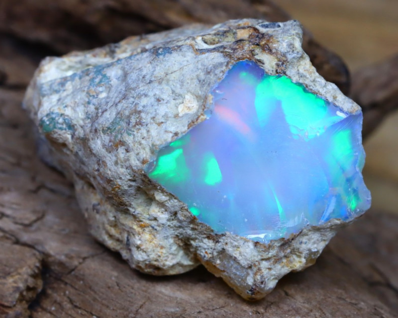 Welo Rough 12.91Ct Natural Ethiopian Play Of Color Facet Rough Opal D0208
