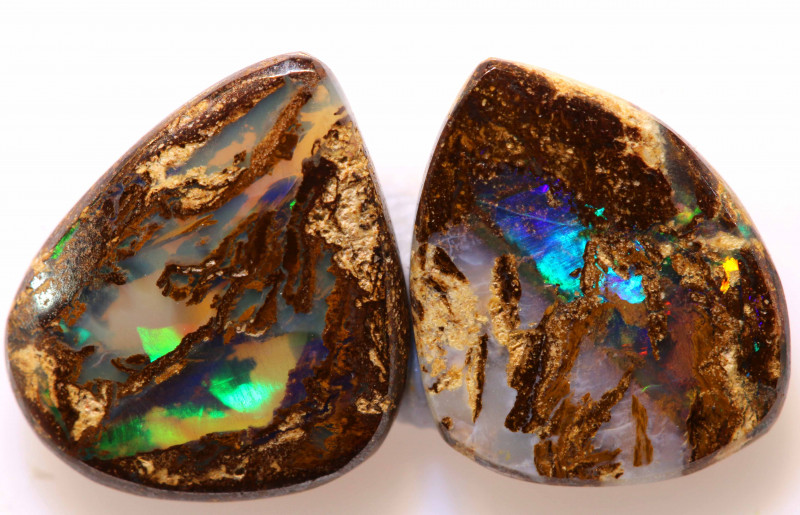 4.65 CTS BOULDER WOOD FOSSIL OPAL PAIR STONES NC-5000