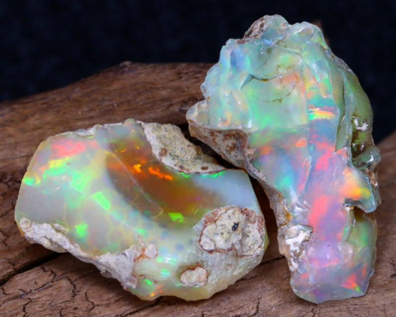 Welo Rough 15.64Ct Natural Ethiopian Play Of Color Facet Rough Opal F0406
