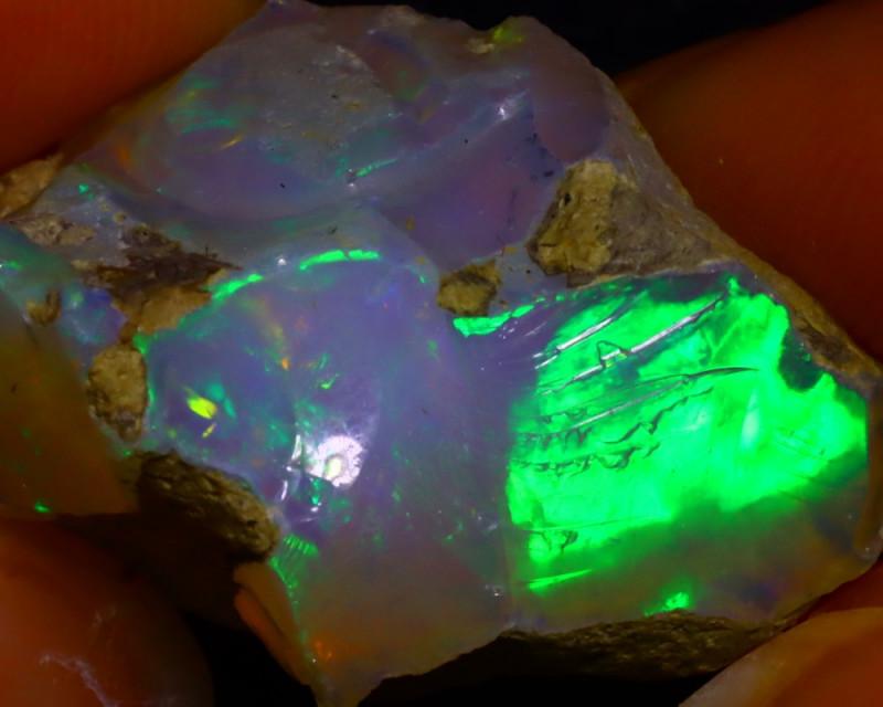 29.14Ct Multi Color Play Ethiopian Welo Opal Rough JR73/R3