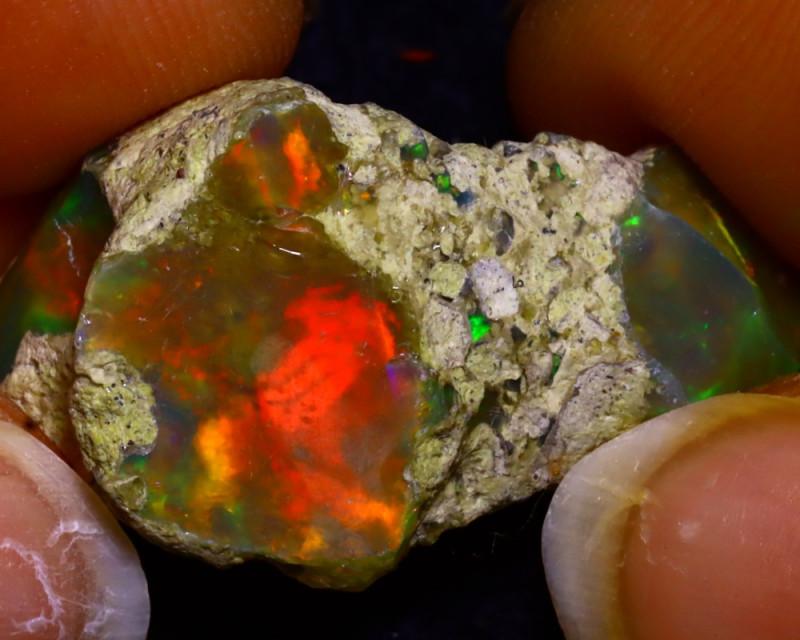 21.68Ct Multi Color Play Ethiopian Welo Opal Rough JR82/R3