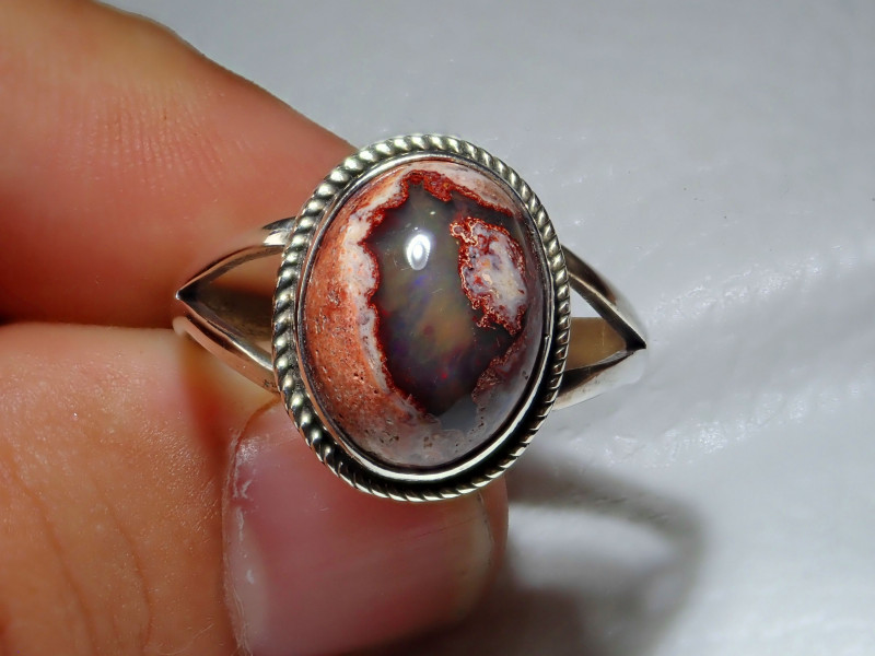 10.7sz Mexican Opal .925 Sterling Silver Ring