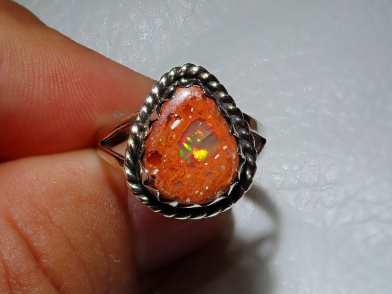 7.7sz Mexican Opal .925 Sterling Silver Ring