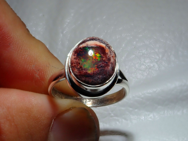 7.7sz Mexican Taxco Opal .925 Sterling Silver Ring