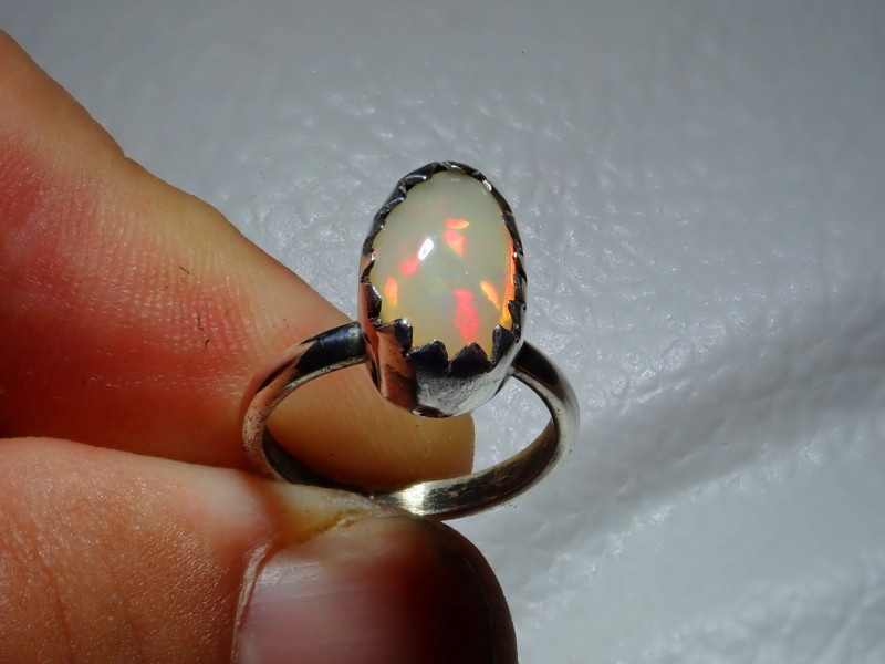 2.7sz Natural Ethiopian Welo Opal .925 Sterling Silver Ring