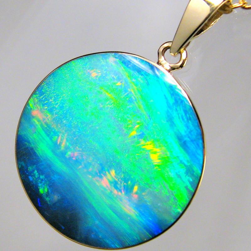 Australian Opal Pendant 9.85ct 14k Gold Inlaid Doublet C89