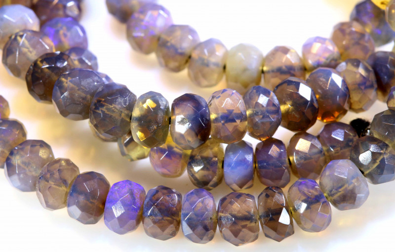 61.95 CTS  L RIDGE BLACK  OPAL FACETED BEADS STRAND TBO-1314