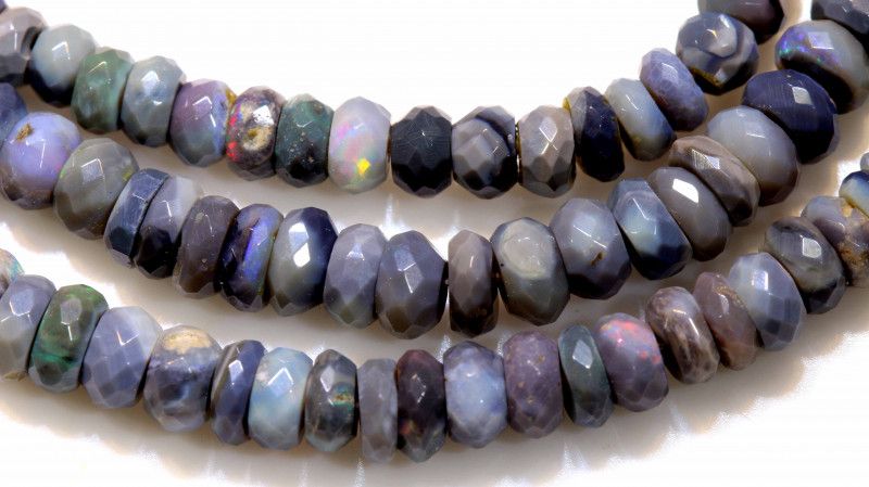 63 CTS  L RIDGE BLACK  OPAL FACETED BEADS STRAND TBO-1318