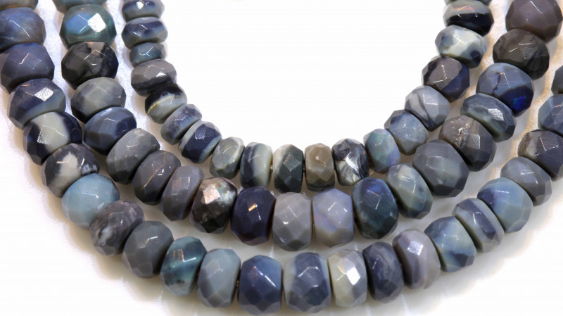 55.25 CTS  L RIDGE BLACK  OPAL FACETED BEADS STRAND TBO-1319