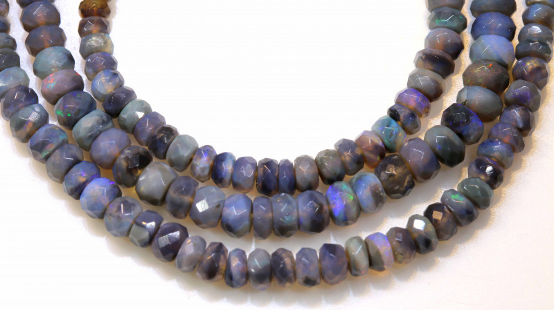 45.15 CTS  L RIDGE BLACK  OPAL FACETED BEADS STRAND TBO-1320