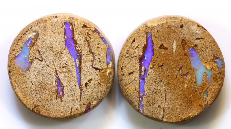 56.02 CTS   BOULDER WOOD FOSSIL PAIR  NC-7620