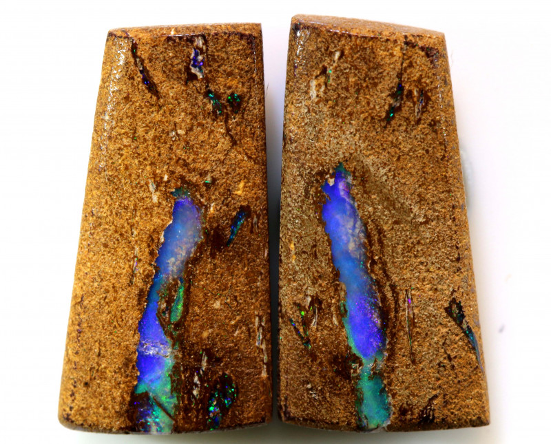 16.71 CTS BOULDER WOOD FOSSIL PAIR NC-7640