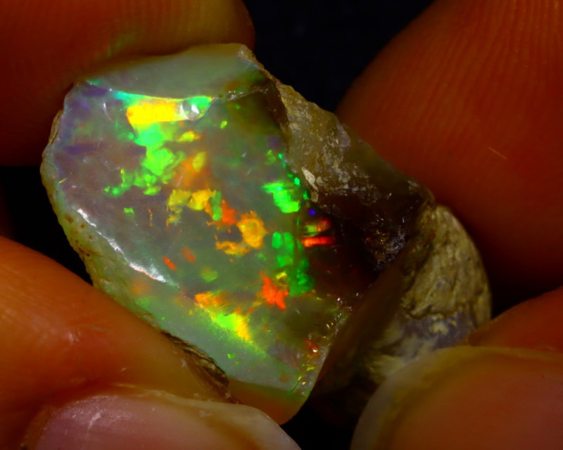 16.76Ct Multi Color Play Ethiopian Welo Opal Rough JN157/R2