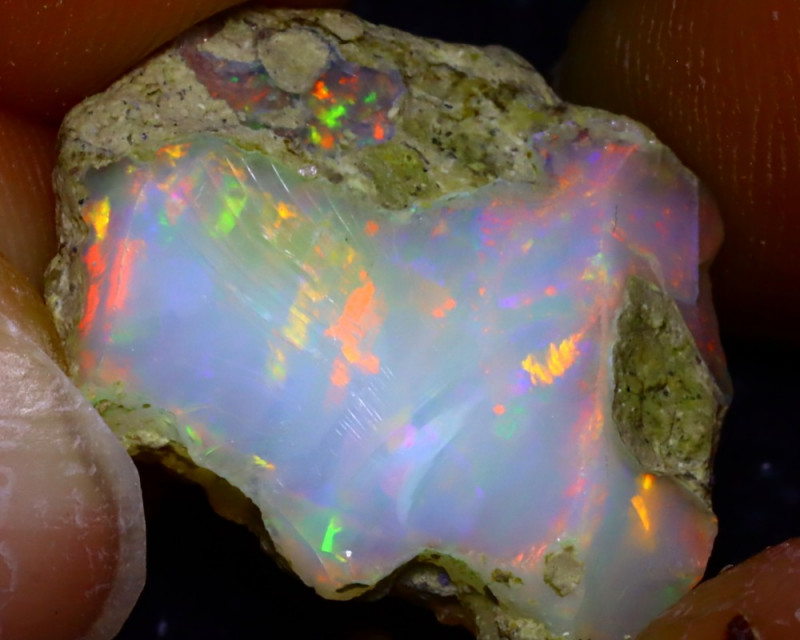 10.60Ct Multi Color Play Ethiopian Welo Opal Rough J1916/R2